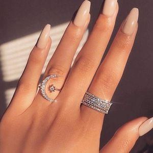 Moon & Star ✨ Adjustable Silver Rhinestone Ring